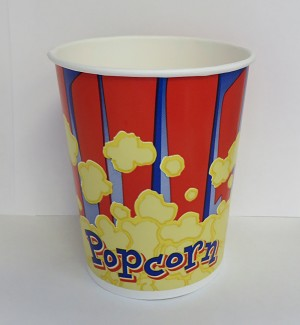 32oz red and blue popcorn cup
