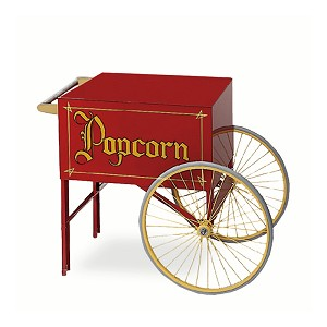 red two wheel popcorn cart