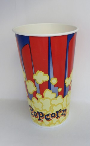 44oz red and blue popcorn cup