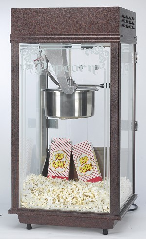 8oz brown etched glass popcorn machine