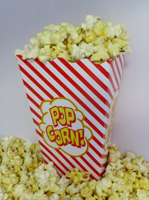 1oz red and white striped scoop popcorn box